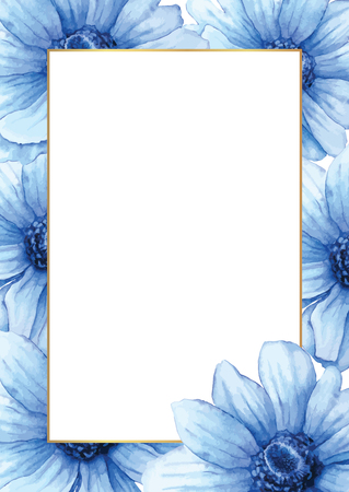 Hand drawn watercolor frame or card. Blue anemones background with white space for your text.
