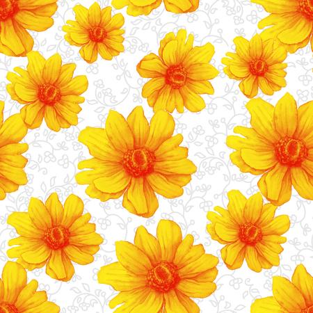 Watercolor colorful pattern with yellow anemone flowers on white background. Abstract Hand drawing Illustration