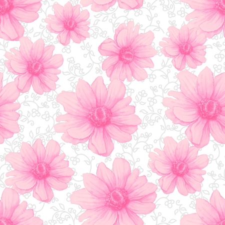 Watercolor colorful pattern with pink anemone flowers on white background. Abstract Hand drawing Illustration