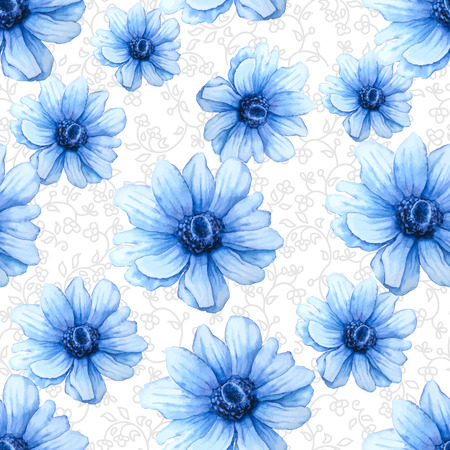 Vector Watercolor colorful pattern with blue anemone flowers on white background. Hand drawing Illustration