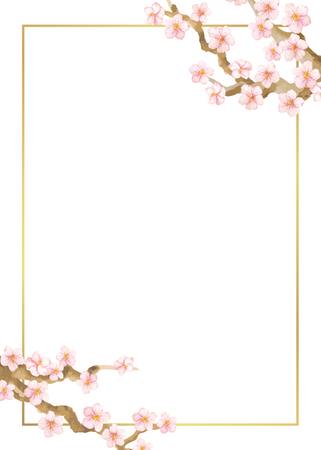 Floral vector frame with cherry or sacura flowers. Can be used for - save the date, mothers day, valentines day, birthday cards.