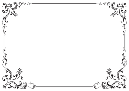 Calligraphic frame and page decoration. Vector illustration. Vector of decorative horizontal element, border and frame.