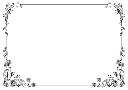 Kalligraphischer Rahmen und Seitendekoration. Vektor-Illustration. Vektor des dekorativen horizontalen Elements, der Grenze und des Rahmens.