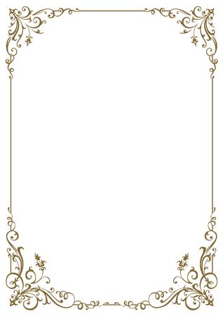 Kalligraphischer Rahmen und Seitendekoration. Vektor-Illustration. Vektor des dekorativen vertikalen Elements, der Grenze und des Rahmens.