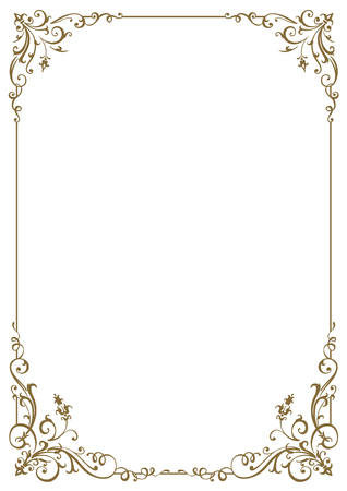 Calligraphic frame and page decoration. Vector illustration. Vector of decorative vertical element, border and frame.