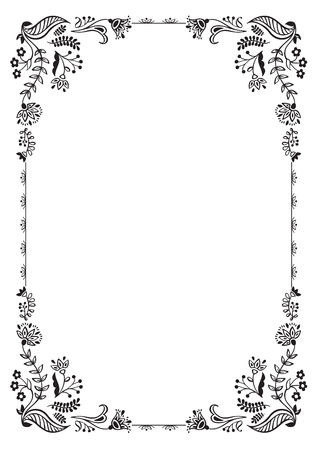 Calligraphic floral frame and page decoration. Vector illustration. Vector of decorative vertical element, border and frame.
