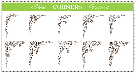 Calligraphic floral frame and page corners set. Vector illustration. Vector of decorative vertical element, border and frame. Иллюстрация