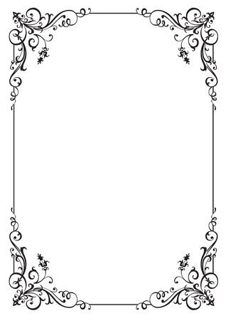 Cadre floral calligraphique et décoration de page. Illustration vectorielle. Vecteur d'élément vertical décoratif, bordure et cadre. Vecteurs