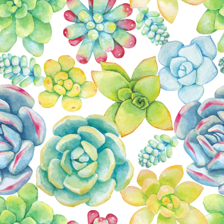 Vector seamless pattern of floral elements in a watercolor style. Succulents painted in watercolor. Editable Element for design of invitations, posters, fabrics and other objects.