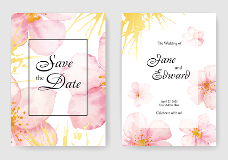 Floral vector card, wedding invitation. Can be used for - save the date, mothers day, valentines day, birthday cards.  イラスト・ベクター素材