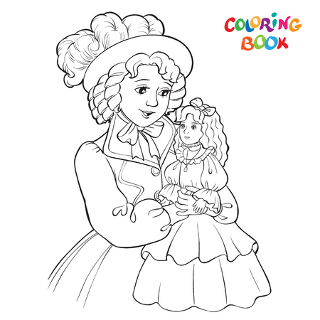 Beautiful girl holding a doll on hands. outlined picture for coloring book on white background. Vector illustration