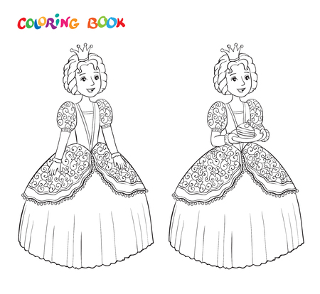 Beautiful little princess curtsies outlined for coloring book isolated on white background. Vector illustration
