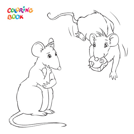 Coloring Book with two rats. Rat with chees. Vector illustration