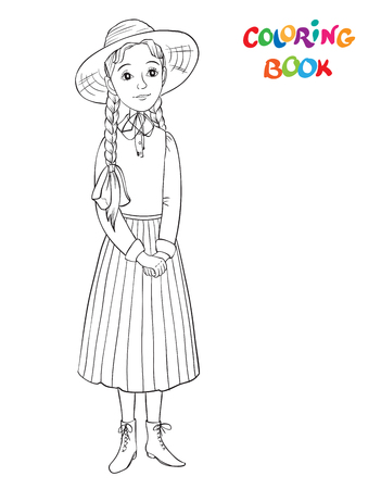 Coloring page outline of Beautiful girl. Smiling girl in dress and straw hat. vector illustration or coloring book