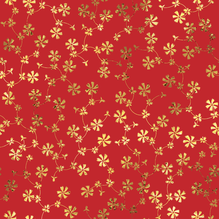 Ornate seamless pattern with small golden flowers on red background. Seamless pattern for wallpaper, pattern fills, web page background, surface textures.