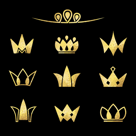 Vector logo set. Crowns in a linear style.