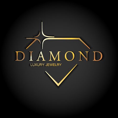 Icon Stylized Diamond. Golden Vector Logo on black background. Luxury jewelry.