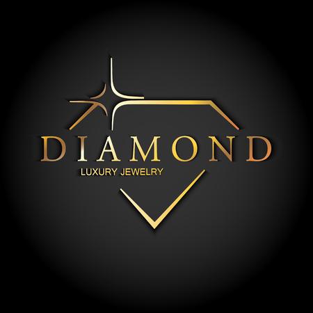 Ikona Stylizowany Diament. Logo wektor złoty na czarnym tle. Luksusowa biżuteria.