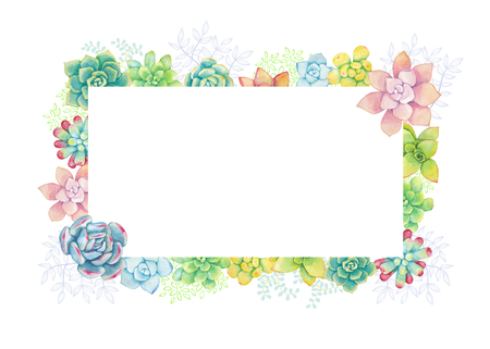 Vector horizontal floral background in a watercolor style. Succulents painted in watercolor. Editable Element for design of invitations, posters, fabrics and other objects.