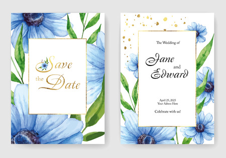 Vector card, wedding invitation. Can be used for - save the date, mothers day, valentines day, birthday cards. Watercolor anemones under the mask.