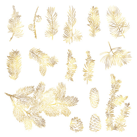 Set vector christmas golden branch and bumps with foil texture Фото со стока