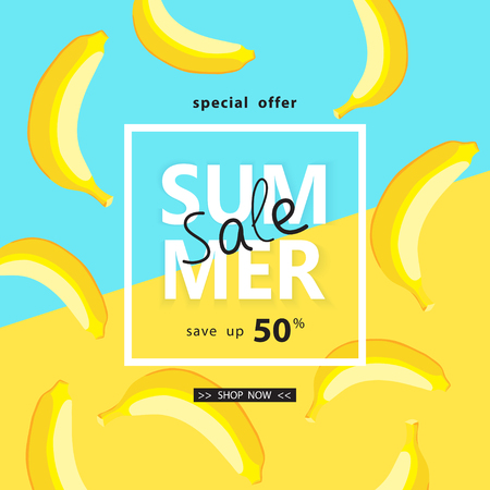 Yellow Summer Sale banner with bananas, bright design. Vector design  イラスト・ベクター素材