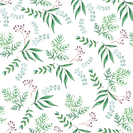 Seamless pattern of foliage natural branches, green leaves, herbs, tropical plant. Hand drawn watercolor. Vector fresh rustic eco background on white Иллюстрация