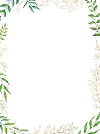 Watercolor herbal mix vector frame. Hand painted plants, branches and leaves on white background. Natural leafy card design