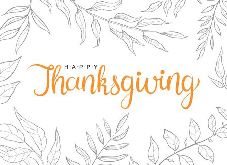 Happy thanksgiving text with hand drawn autumn leaves and branches isolated on white