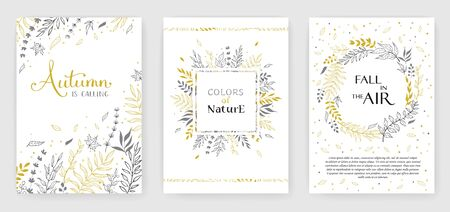 Gold color invitation with floral branches. Иллюстрация