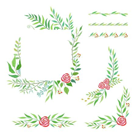 Herbal mix vector frame set. Hand painted floral vector frame, border and corner on white background. Natural summer card design