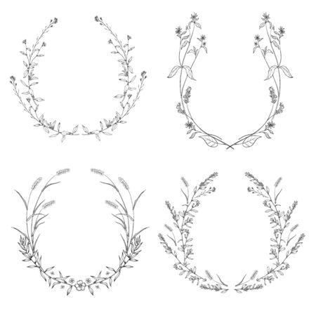 Floral black and white Frame Collection in line style.