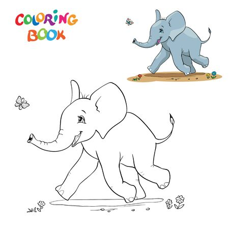 Cartoon baby elephant with butterfly.