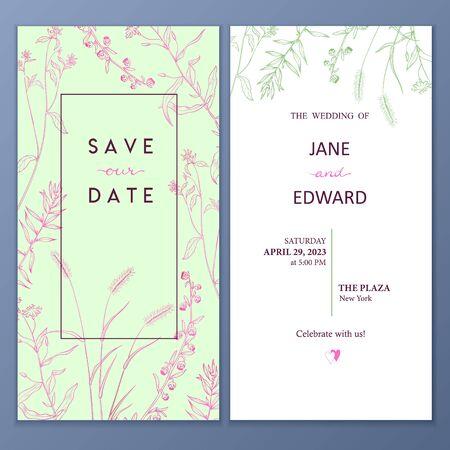 Floral vector card, wedding invitation.