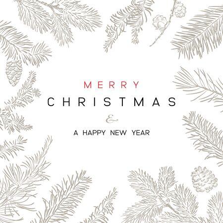 Weihnachten mit Zweigen des Weihnachtsbaums. Vektorgrafik
