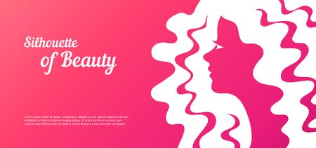 Abstract with blur female profile for greeting card or beauty salon poster.