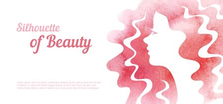 Abstract with Watercolor female profile for greeting card or beauty salon poster.