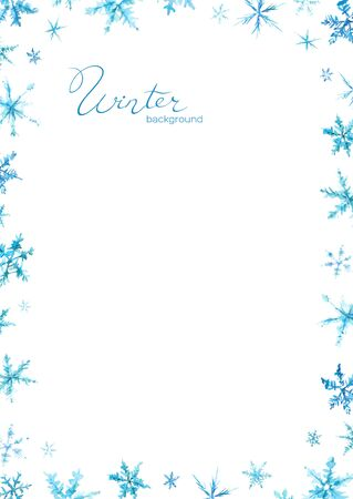 Christmas Poster of winter  with watercolor snowflakes.