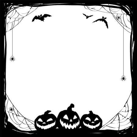 Halloween black background with bats and Jack O Lanterns. Vector poster illustration with place for your text. Illusztráció