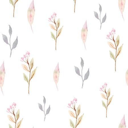 Vector watercolor seamless pattern with flowers.