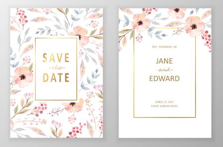 Vintage vector card, wedding invitation.