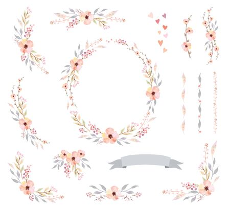 Floral Frame Collection. Set of cute watercolor retro flowers, perfect for wedding invitations and birthday cards