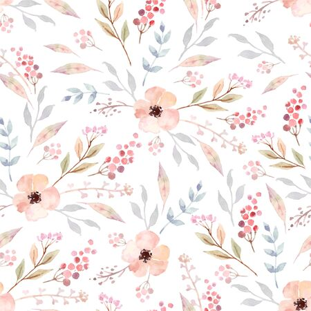 Vector watercolor seamless pattern with flowers. Floral background design.