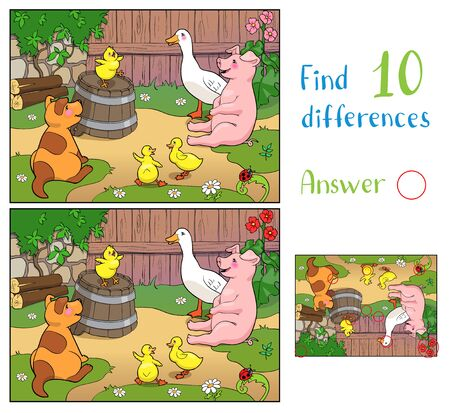 A yellow chicken cheers puppy, pig and ducks with mother duck. Merry animal and birds on a farm. Find 10 differences. Educational game for children. 일러스트