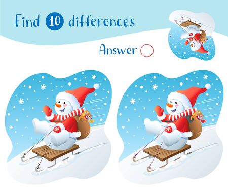 Vector Christmas illustration. Snowman on sled with christmas gifts