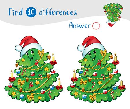 Christmas tree with decorations and gifts. Greeting card concept. Find 10 differences. Educational game for children.