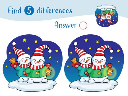 Illustration with two snowman. Find 10 differences. Educational game for children.