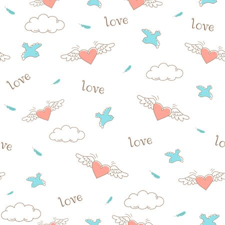 Vector seamless pattern - pink hearts with wings and doves in line style.