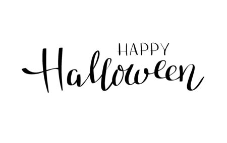 Happy Halloween vector lettering. Holiday calligraphy on white background for banner, poster, greeting card, party invitation. Isolated illustration.