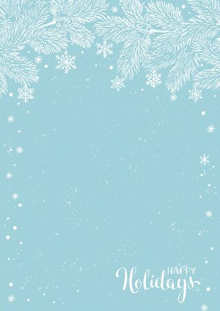 Winter holidays or Christmas background with pine branches and snowflakes. New year illustration. Winter card design. 일러스트
